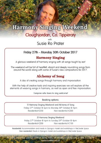 Harmony Singing and Alchemy of Song Weekend with Susie Ro Prater